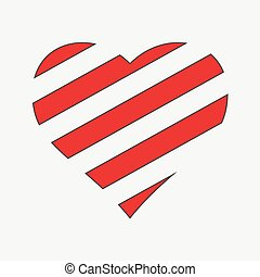 Happy Valentine Day. Striped Heart Design Element