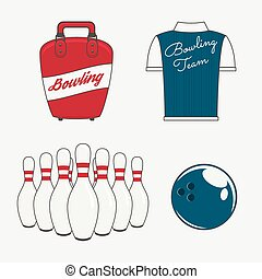 Vector Elements Set for a Bowling Team - Vector Objects Set...