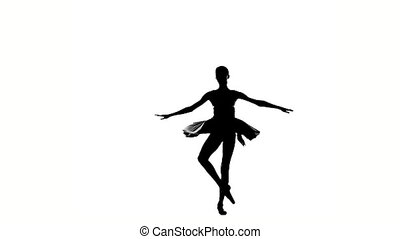 ballerina girl is wearing a dress silhouette slow motion -...