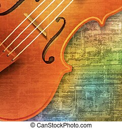 abstract grunge background with violin - abstract green...