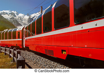 red train - particular on the red train of Engadin valley