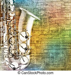 abstract grunge background with saxophone - abstract green...