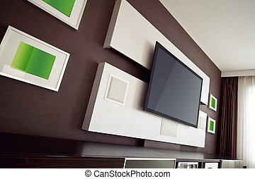 Modern Home Theater Room Interior with Flat Screen TV angled...
