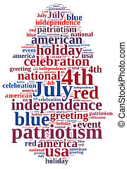 4th July. - illustration with word cloud on July 4th party.