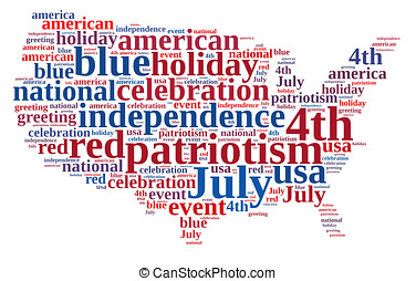 4th July - illustration with word cloud on July 4th party