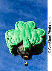 Summer Hot Air Balloon Festival - Shamrock shaped green hot...