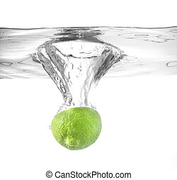 lime falling into water