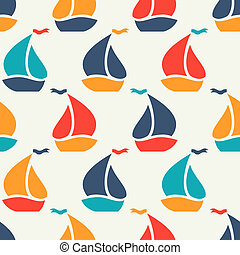 Seamless pattern of colorful sailboat shape Endless texture...