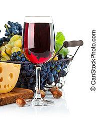 queso, vino, rojo, uvas, vidrio