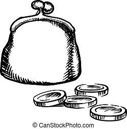 Big purse with coins, sketch icon