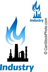 Industrial plant icon with blue flame - Industrial plant or...