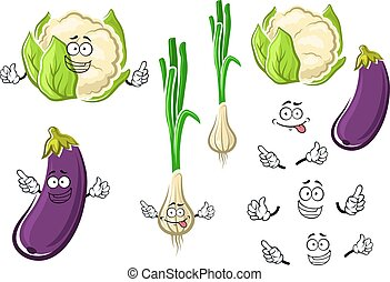 Cauliflower, onion and eggplant vegetables - Fresh...