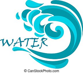 Blue ocean wave with water swirls - Blue wave of stormy...