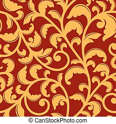 Seamless pattern with floral swirls - Seamless pattern with...