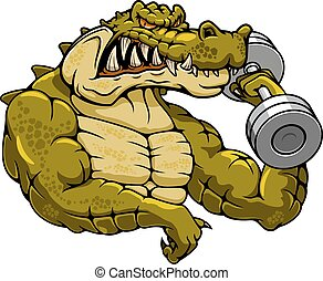 Cartoon crocodile mascot with dumbbell - Strong muscular...