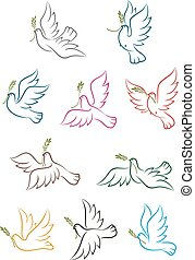 Flying doves with olive branch