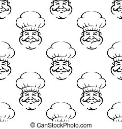 Smiling baker or chef seamless pattern