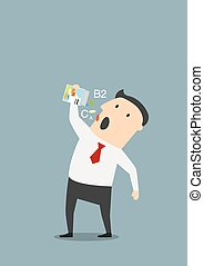 Cartoon businessman taking vitamins pills