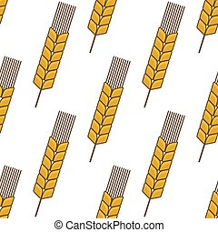 Yellow wheat ears seamless pattern - Retro stylized...