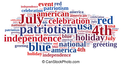 4th July. - Ilustraccion with word cloud on July 4th party.