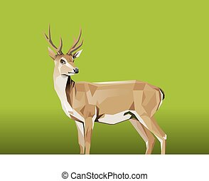 Deer with green Background - Vector Illustration,...
