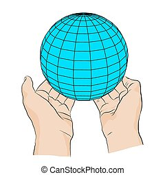 two hands with globe.