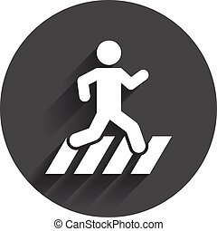 Crosswalk icon Crossing street sign Circle flat button with...