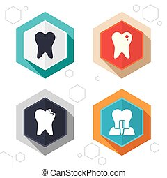 Dental care icons Caries tooth and implant - Hexagon buttons...