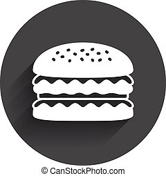Hamburger icon. Burger food symbol. Cheeseburger sandwich...