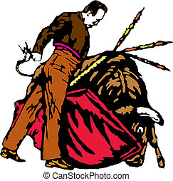 Torero - Bullfighter, bull, typical spanish vector...