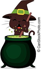 Halloween Cat Cauldron - Happy witch cat cooking potion brew...