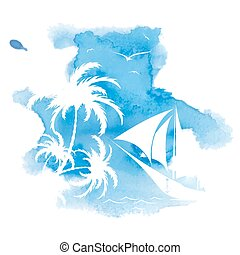 Palm trees, watercolor background - Palm tree and sailboat,...