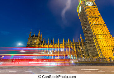 Car light trails in the night, Westminster Bridge - London