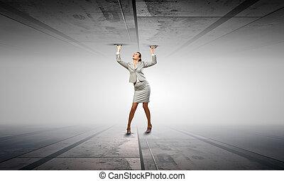Pressured with circumstances - Businesswoman under pressure...