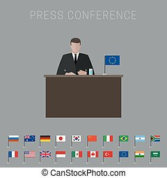 Press conference banner - Press conference vector banner...