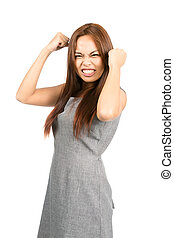 Disappointed Asian Girl Temper Tantrum Fists Ball - Profile...