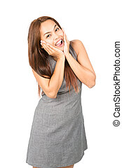 Eurphoric Asian Woman Reacting Happy News Half - A thrilled,...