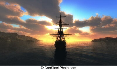 sunset sea old ship