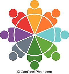 People logo. Pie chart 8 persons