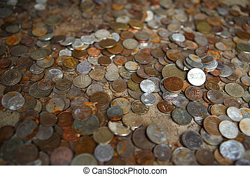 Money concept - bunch of international coins - Bunch of...