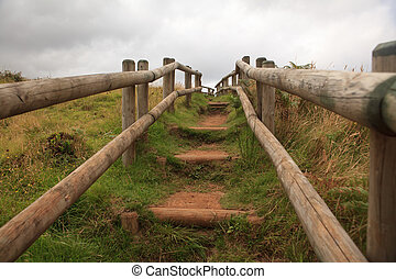 Path of wooden stairs in Sao Miguel Island, Azores