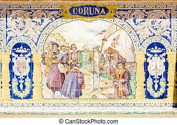 tile painting , Spanish Square (Plaza de Espana), Seville,...