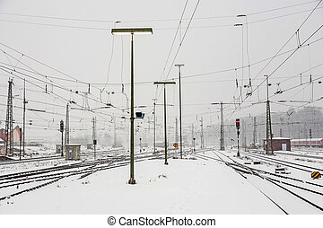 snowfall at the train station in Wiesbaden, Germany