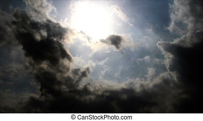 Clouds with sun, time lapse
