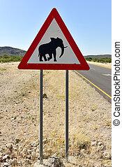 Elephant Sign - Namibia - Caution: Elephants Road sign...