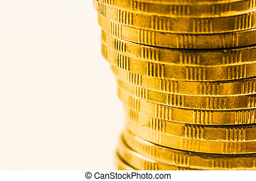 pile of golden coins close up