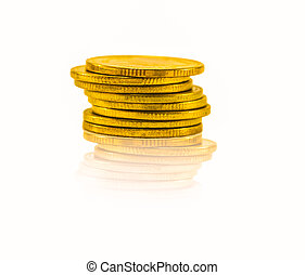 golden coins isolated on white