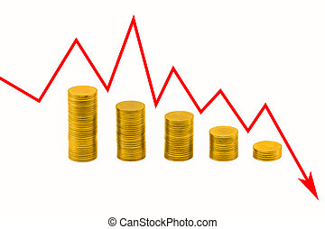 Pile of golden coins and downside growing arrow graph