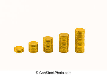 Pile of golden coins and graph. - Pile of golden coins and...