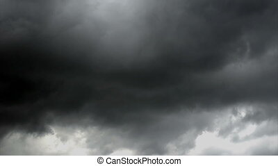White and dark storm clouds, time lapse